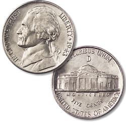1943-D Jefferson Wartime Silver Alloy Nickel