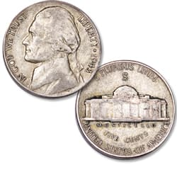 1943-S Jefferson Wartime Silver Alloy Nickel