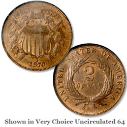 1870 Two Cent Piece, Red Brown