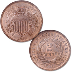 1865 Two Cent Piece, Brown