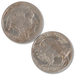 1913 Buffalo Nickel, Variety 2, FIVE CENTS in Recess