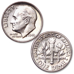 1949-S Roosevelt Silver Dime
