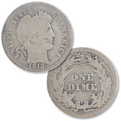 1912-D Barber Silver Dime