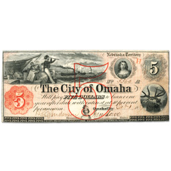 1857 $5 City of Omaha Obsolete Note