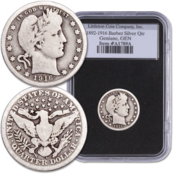 1892-1916 Barber Silver Quarter in Deluxe Holder