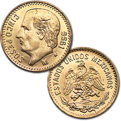 20th Cent Mexico 5 Pesos Gold Re-strike