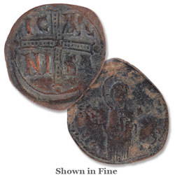 A.D. 1034-1041 Michael IV Copper Follis, Christ Portrait
