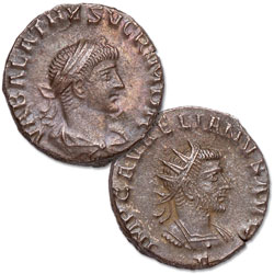 A.D. 267-271 Vabalathus and Aurelian Billon Antoninianus