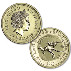 1989-Date Australia 1/4 oz Gold $25 Kangaroo in Air-Tite
