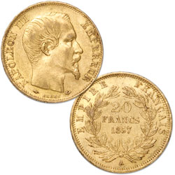 1852-1870 France Gold 20 Francs in Air-Tite