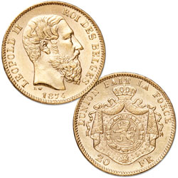 1867-1882 Belgium Gold 20 Francs in Air-Tite