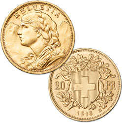 1897-1949 Switzerland Gold 20 Francs