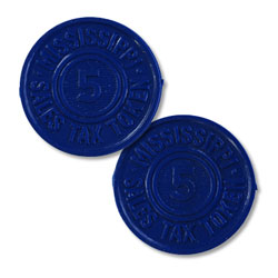 Mississippi State 5 Mill Blue Plastic Tax Token