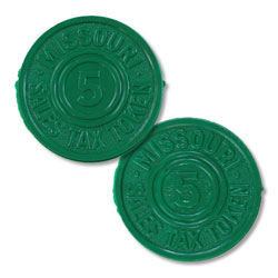 Missouri 5 Mill Green Plastic State Tax Token