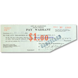 1932 South Carolina $1 Pay Warrant