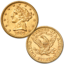 1866-1908 Liberty Head $5 Gold Half Eagle