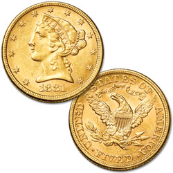 1866-1908 Gold $5 Liberty Head with Motto