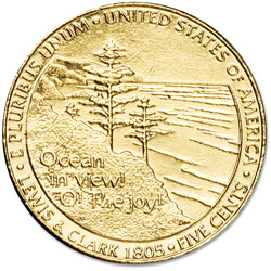 2005 Gold-Plated Ocean in View Jefferson Nickel