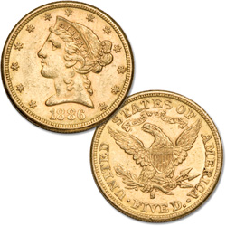 "1886-1905 ""S"" Mint $5 Liberty Head Gold Piece"