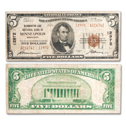 1929 $5 National Bank Note, Type 2