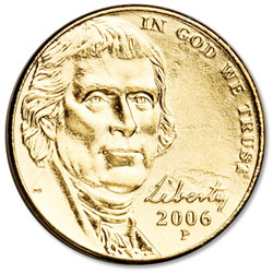 2006 Gold-Plated Jefferson Monticello Nickel