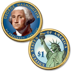 2007 Colorized George Washington Presidential Dollar
