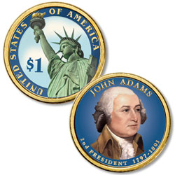 2007 Colorized John Adams Presidential Dollar