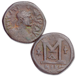 A.D. 518-527 Justin I Copper Follis