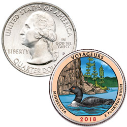 2018 Colorized Voyageurs National Park Quarter
