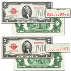 1928D & E $2 Legal Tender Forward Changeover Pair