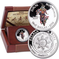 2014 Sioux Fancy Dancer Silver Dollar in Display Case