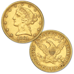 "1880-1905 ""P"" Mint Liberty Head Gold $5 Half Eagle"