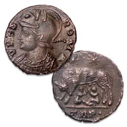 A.D. 330-340 Constantine I Wolf & Twins Commemorative