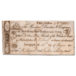 1801 New Hampshire Bank Counterfeit $10 Note