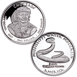 2017 Jamul Nation Choctaw & Water Moccasin Silver Dollar