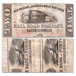1861 New Orleans, Jackson and Great Northern Railroad Company $2 Note