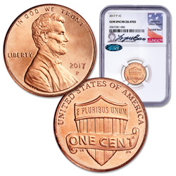 2017-P Lincoln Cent, Lyndall Bass Signed