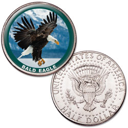 Bald Eagle Colorized Kennedy Half Dollar