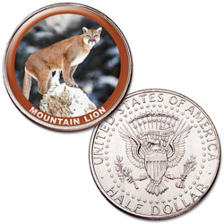 Mountain Lion Colorized Kennedy Half Dollar