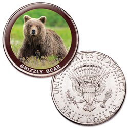 Grizzly Bear Colorized Kennedy Half Dollar