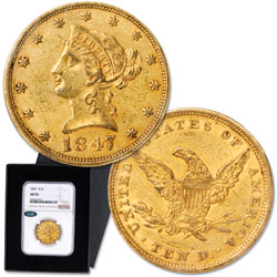 1847-1853 $10 Liberty Head Gold Piece, No Motto