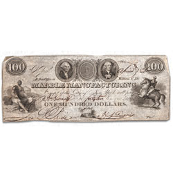 1826 $100 New York Marble Manufacturing Obsolete Note
