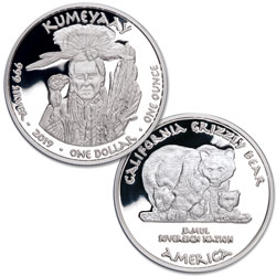 2019 Jamul Nation Kumeyaay & Grizzly Bear Silver Dollar