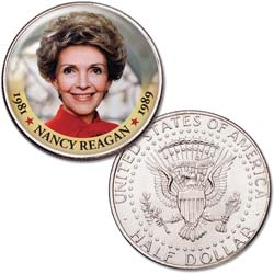 Colorized First Spouses of America Half Dollar - Nancy Reagan