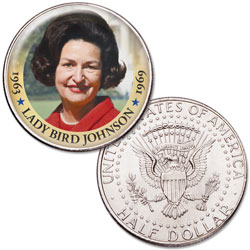 Colorized First Spouses of America Half Dollar - Lady Bird Johnson