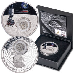 2019 Mesa Grande 1 oz. Silver Dollar Moon Landing with Diamonds