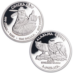 2019 Jamul Nation Chickasaw Tribe & Coyote Silver Dollar
