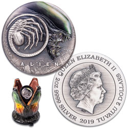 2019 Tuvalu 2 oz. Silver $2 Alien Antiqued Coin