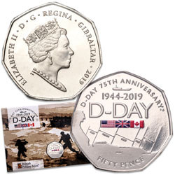 2019 Gibraltar Copper-Nickel 50 Pence D-Day 75th Anniversary