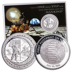 2019 Moon Landing 50th Anniversary Silver-Plated Copper Round